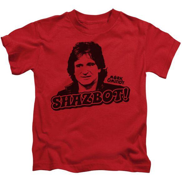 Mork & Mindy Shazbot Short Sleeve Juvenile Red T-Shirt