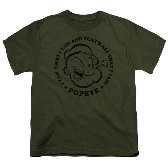 Popeye I Yam Short Sleeve Youth Military T-Shirt