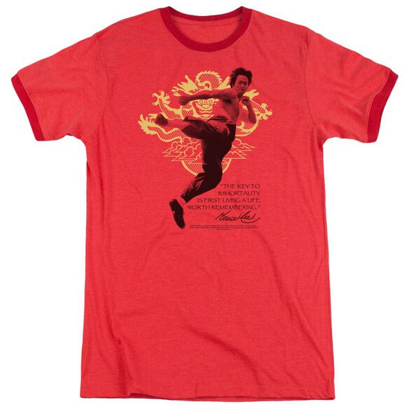 Bruce Lee Immortal Dragon Adult Heather Ringer Red