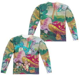 Dragon Tales Mushroom Meadow (Front Back Print) Long Sleeve Adult Poly Crew T-Shirt