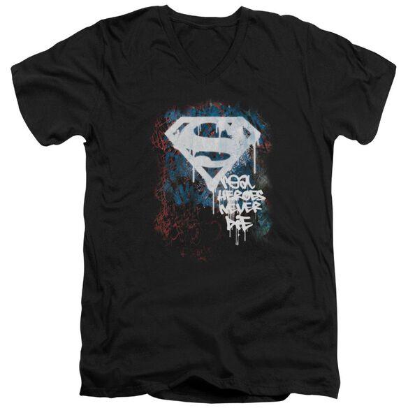SUPERMAN REAL HEROES NEVER DIE - S/S ADULT V-NECK - BLACK T-Shirt