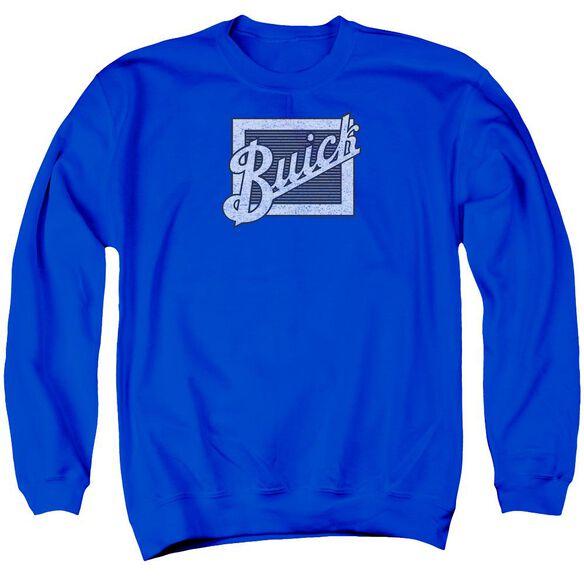 Buick Distressed Emblem Adult Crewneck Sweatshirt Royal