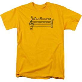 Sun Records Music Staff Short Sleeve Adult Gold T-Shirt