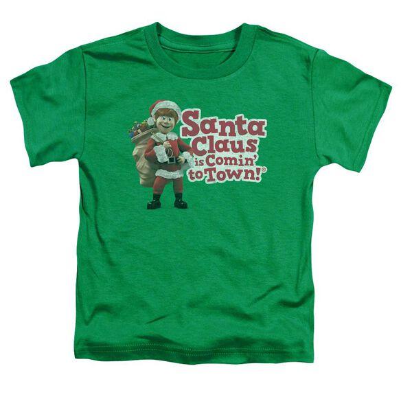 Santa Claus Is Comin To Town Santa Logo Short Sleeve Toddler Tee Kelly Green T-Shirt