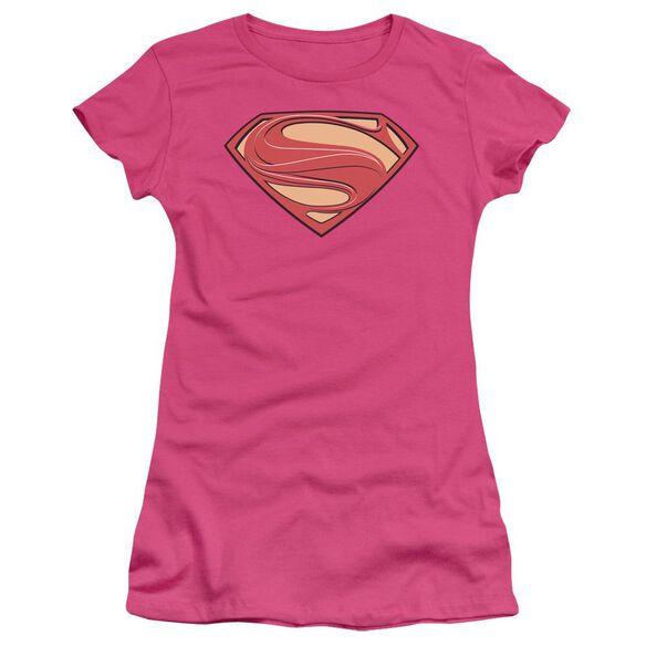 Man Of Steel New Solid Shield Short Sleeve Junior Sheer Hot T-Shirt