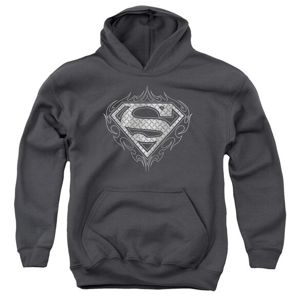 Superman Tribal Steel Logo Youth Pull Over Hoodie