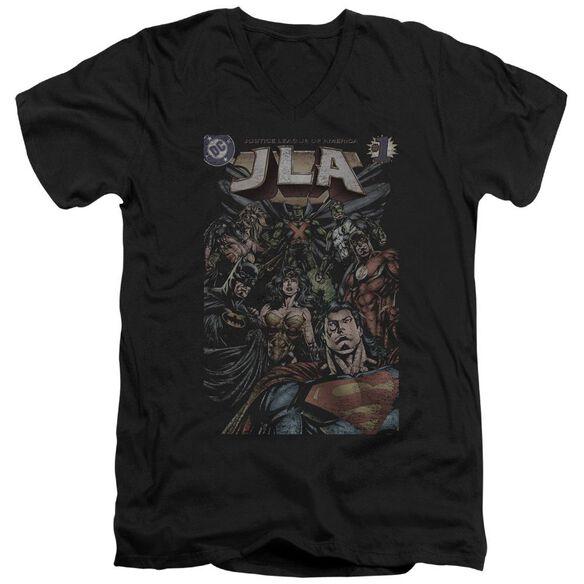 Jla #1 Cover Short Sleeve Adult V Neck T-Shirt