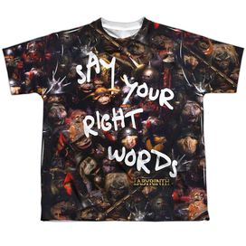 Labyrinth Right Words Short Sleeve Youth Poly Crew T-Shirt