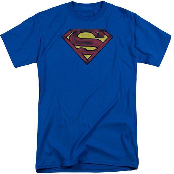 Superman Charcoal Shield Short Sleeve Adult Tall Royal T-Shirt