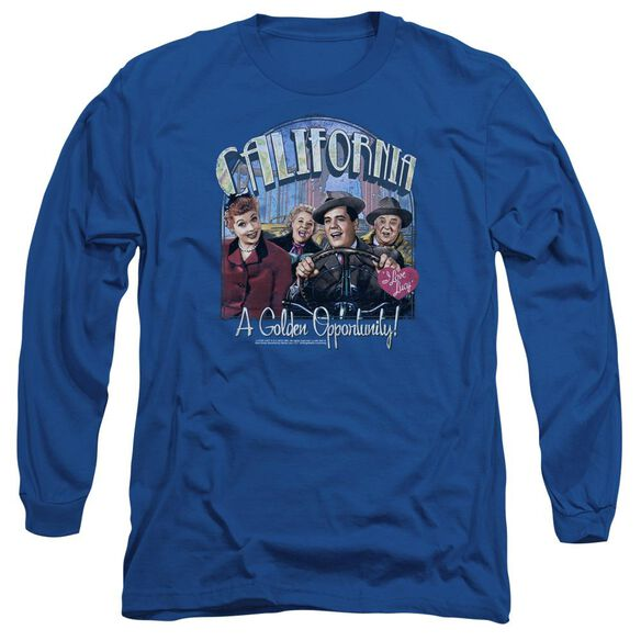 I Love Lucy Golden Opportunity Long Sleeve Adult Royal T-Shirt