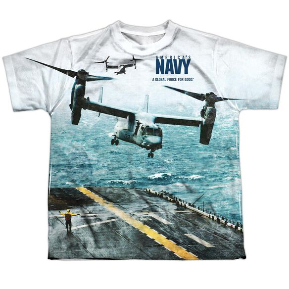Navy Osprey Short Sleeve Youth Poly Crew T-Shirt