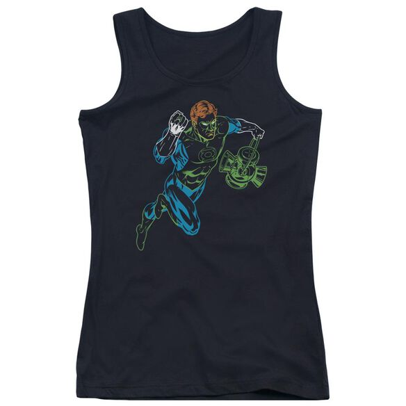 Gl Neon Lantern - Juniors Tank Top - Black