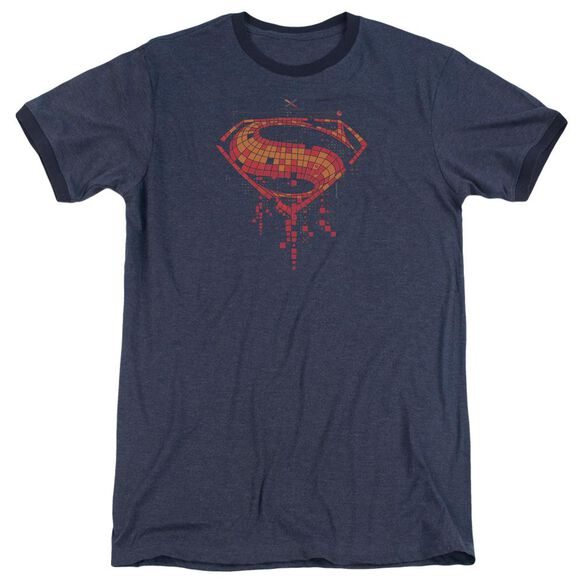 Batman V Superman Tech Super Logo Adult Heather Ringer Navy