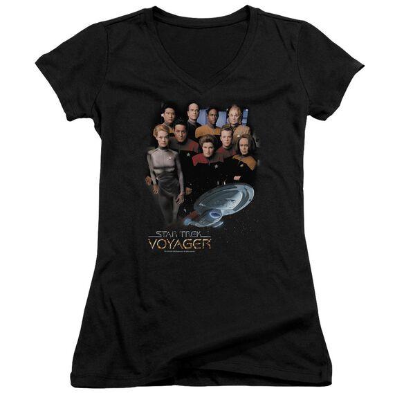 Star Trek Voyager Crew - Junior V-neck - Black