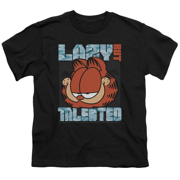 GARFIELD LAZY BUT TALENTED - S/S YOUTH 18/1 - BLACK T-Shirt