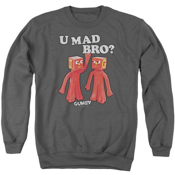 Gumby U Mad Bro - Adult Crewneck Sweatshirt - Charcoal