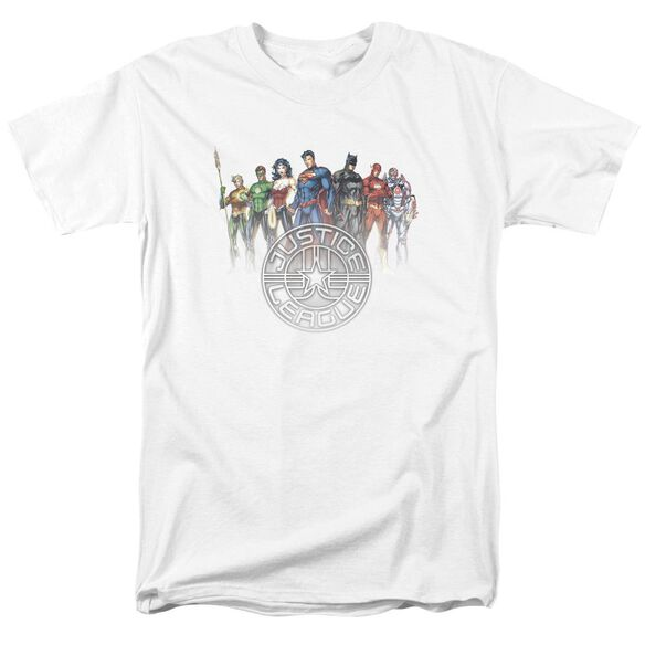 Jla Circle Crest Short Sleeve Adult T-Shirt