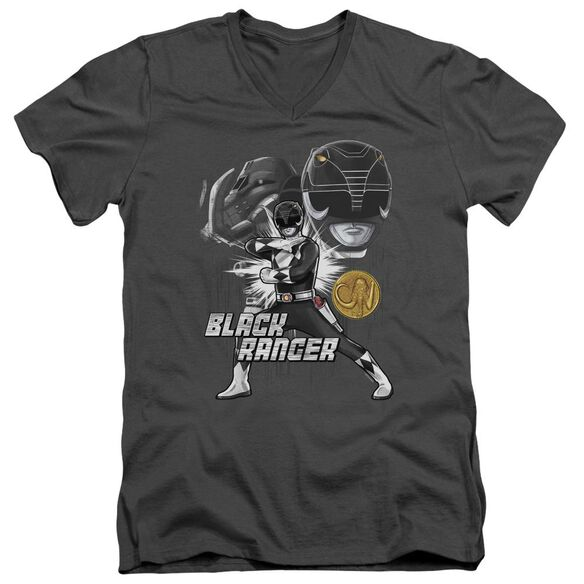 Power Rangers Black Ranger Short Sleeve Adult V Neck T-Shirt