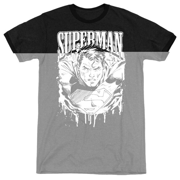 Superman Super Metal - Adult Heather Ringer - Black