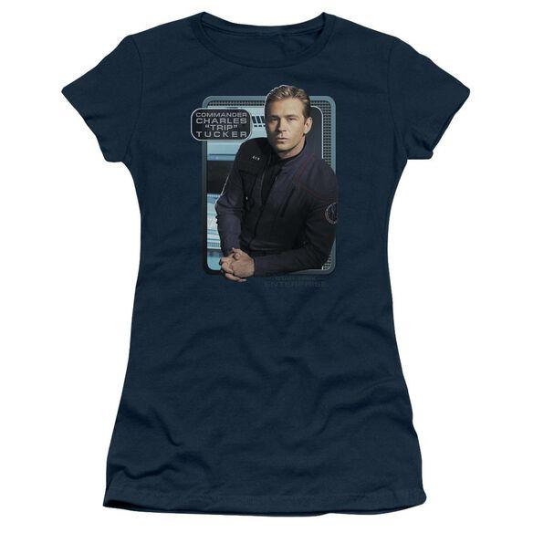 Star Trek Trip Tucker Short Sleeve Junior Sheer T-Shirt