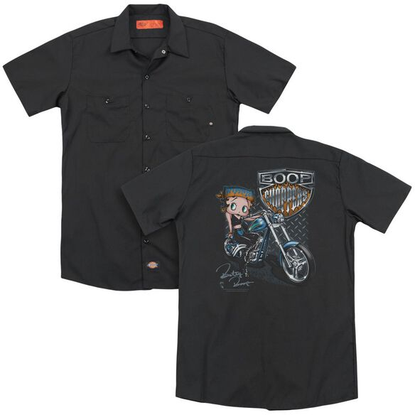 Betty Boop Choppers (Back Print) Adult Work Shirt