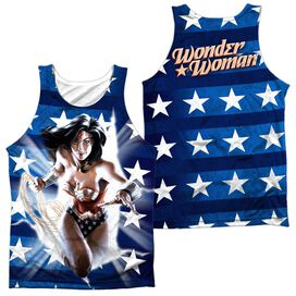 Jla Ripped Flag (Front Back Print) Adult 100% Poly Tank Top