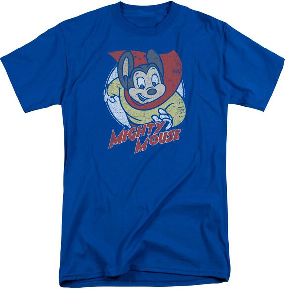 Mighty Mouse Mighty Circle Short Sleeve Adult Tall Royal T-Shirt
