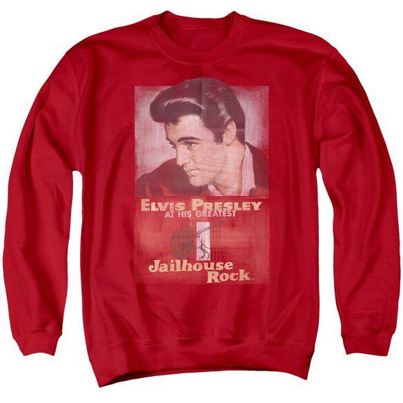 Elvis Presley Jailhouse Rock Poster - Adult Crewneck Sweatshirt - Red