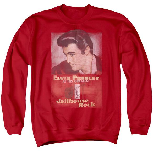 Elvis Presley Jailhouse Rock Poster - Adult Crewneck Sweatshirt - Red