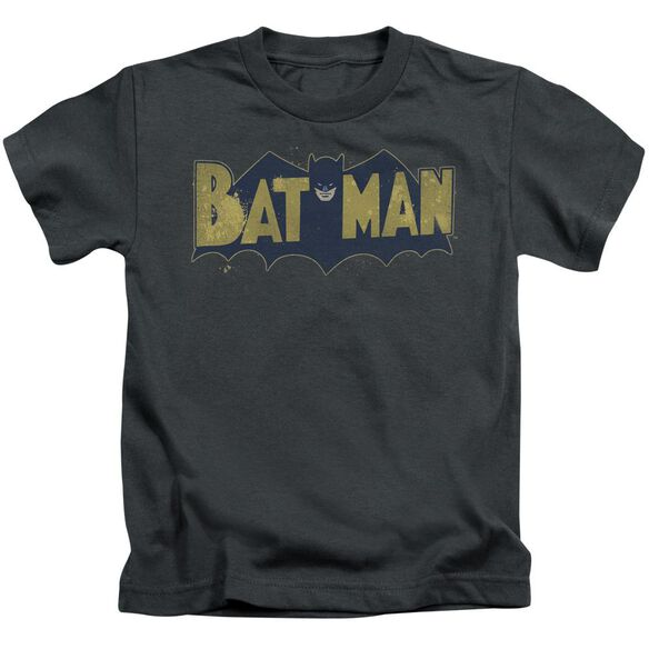 Batman Vintage Logo Splatter Short Sleeve Juvenile Charcoal T-Shirt