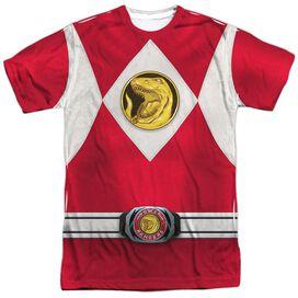 Power Rangers Red Ranger Emblem Short Sleeve Adult Poly Crew T-Shirt