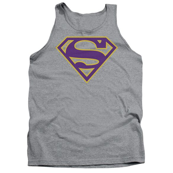 Superman Purple & Gold Shield Adult Tank Athletic