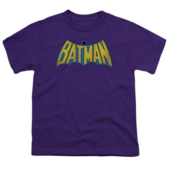 Dc Classic Batman Logo Distressed Short Sleeve Youth T-Shirt