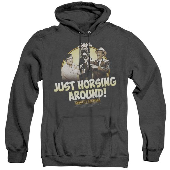 Abbott & Costello Horsing Around - Adult Heather Hoodie - Black