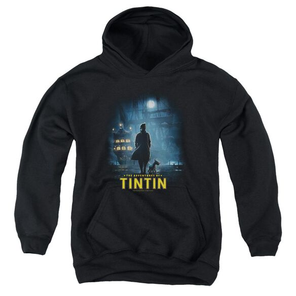 Tintin Title Poster Youth Pull Over Hoodie