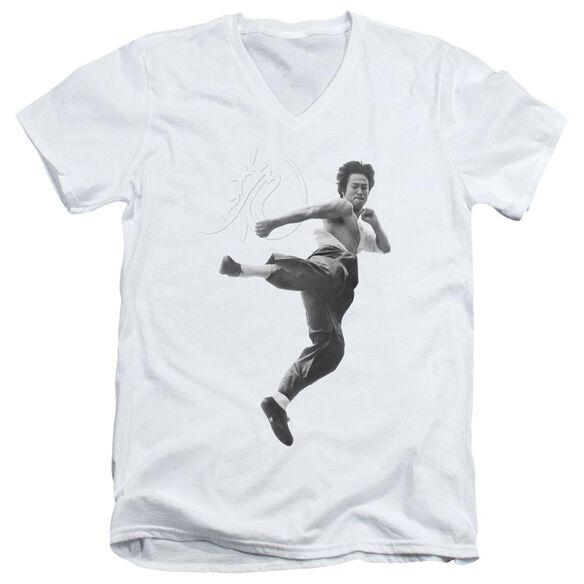 Bruce Lee Flying Kick Short Sleeve Adult V Neck T-Shirt