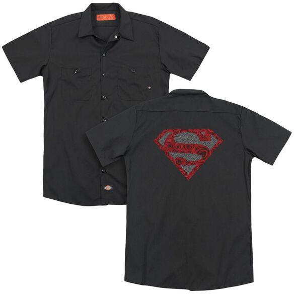 Superman Elephant Rose Shield(Back Print) Adult Work Shirt