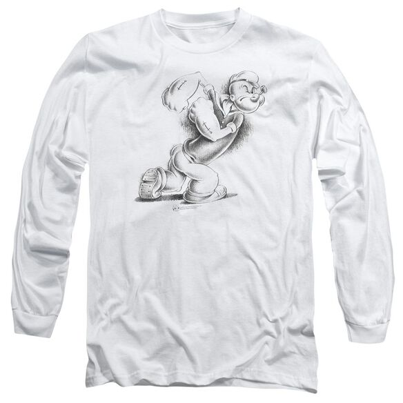 POPEYE HERE COMES TROUBLE - L/S ADULT 18/1 - WHITE T-Shirt