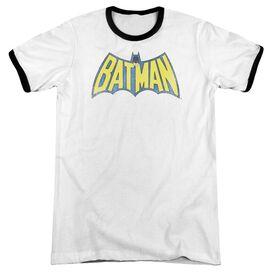 Dc Classic Batman Logo Adult Ringer White Black