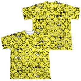 Smiley World Smile Pile (Front Back Print) Short Sleeve Youth Poly Crew T-Shirt