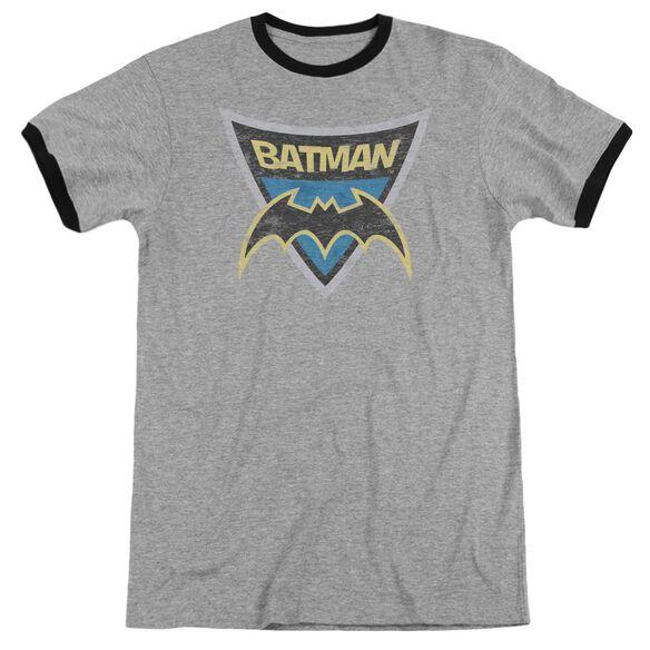 Batman Bb Batman Shield Adult Ringer Heather Black