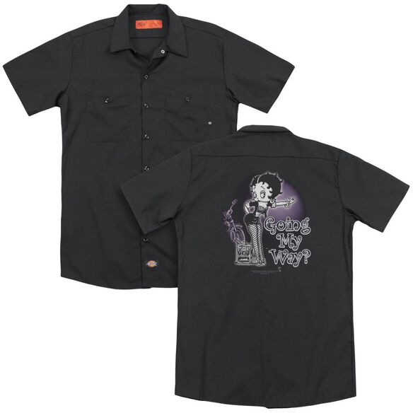 Betty Boop My Way (Back Print) Adult Work Shirt