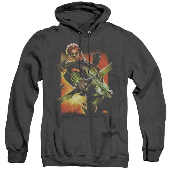 Jla Green Arrow #1 - Adult Heather Hoodie - Black