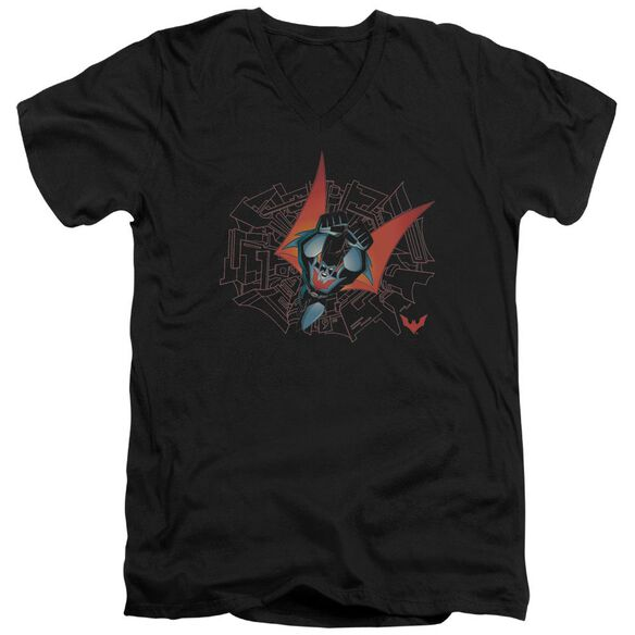 Batman Beyond Swooping Down Short Sleeve Adult V Neck T-Shirt