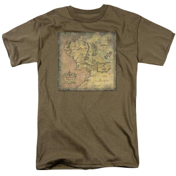 Lor Middle Earth Map Short Sleeve Adult Safari Green T-Shirt