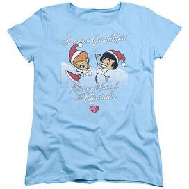 I Love Lucy Animated Christmas Short Sleeve Women's Tee Light Blue T-Shirt