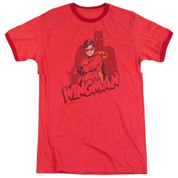 Batman Wingman - Adult Heather Ringer - Red