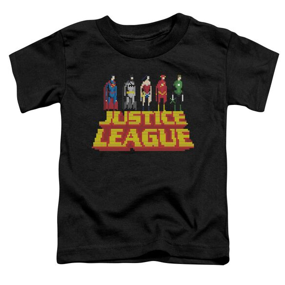 Jla Standing Above Short Sleeve Toddler Tee Black T-Shirt