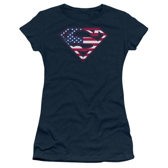 SUPERMAN U S SHIELD - S/S JUNIOR SHEER - NAVY T-Shirt