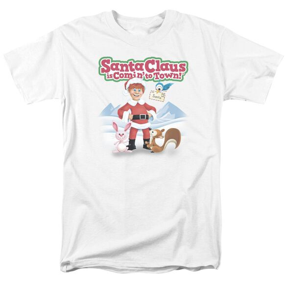 Santa Claus Is Comin To Town Animal Friends Short Sleeve Adult White T-Shirt
